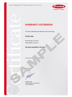 Fronius Warranty ExtensionPlus 20 years