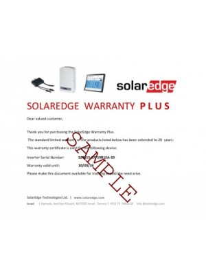 SolarEdge Warranty Extension 1phase 4-6kW 20 years