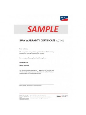 SMA Warranty Extension ACTIVE From 5 to 20 years